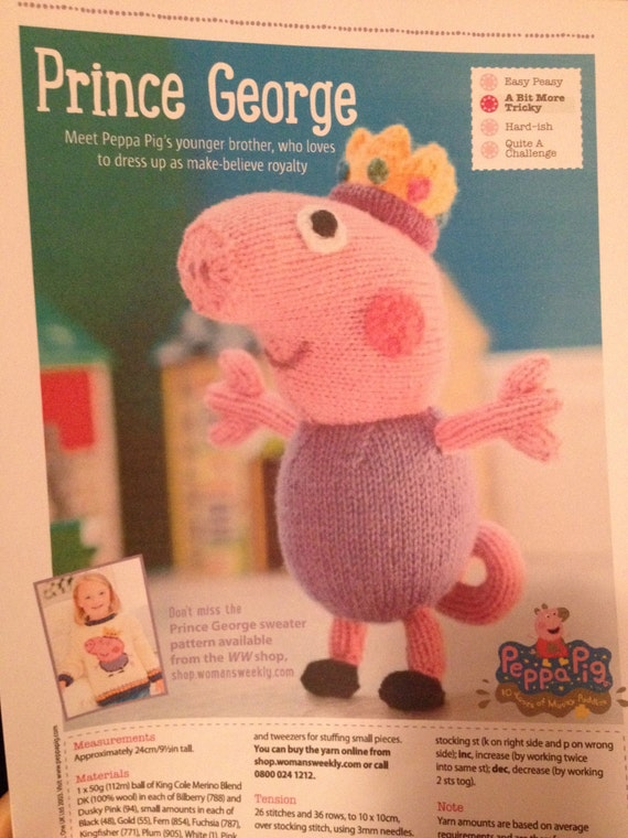 George Pig Knitting Pattern Etsy