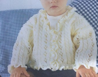 Girls Rib and Frill Cardigans age 0-6 Years Knitting Pattern