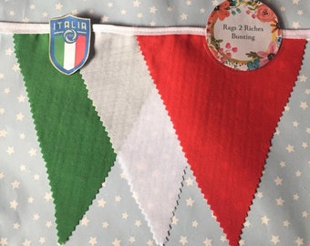 Italy Green, White , Red Cotton Bunting per metre, Country football, rugby, events