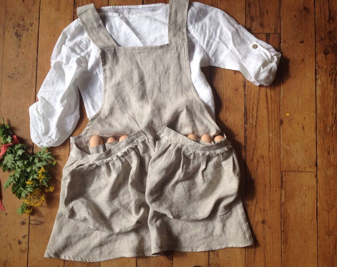 Featured listing image: Women's Linen Apron 'FERN' Cross-back Egg Pockets