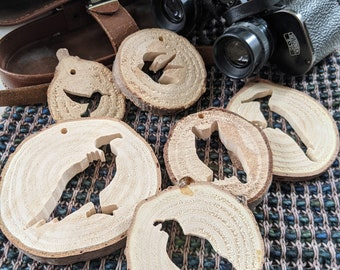 Custom handmade wooden bird ornament carved from last year's Oregon-grown Christmas trees, choose your bird style
