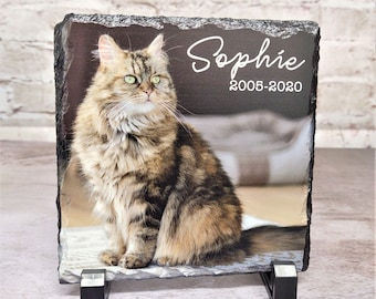 Personalized Pet Memorial Stone, Custom Printed Stone with Pets Name and Years, Pet Plaque for Home, Loss of Pet Gift, Slate Memorial