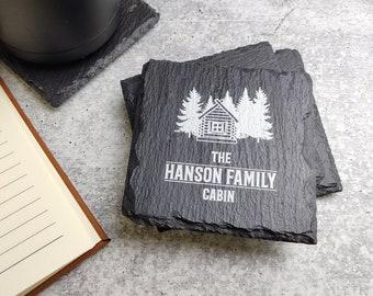 Rustic Cabin Coasters Set of 4, Family Cabin Slate Coasters, Personalized Stone Coasters, Custom Printed Coasters, Custom Cabin Coasters