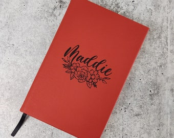 Personalized Journal for Women and Girls with name and flowers, Custom Leatherette Journal with Name, Personalized business gift for office