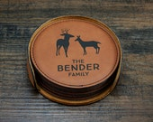 Personalized Deer Coaster Set, Custom Home Decor, Deer Decor, Engraved Coasters, Custom Coasters, Family Name Coasters, Couples Gift