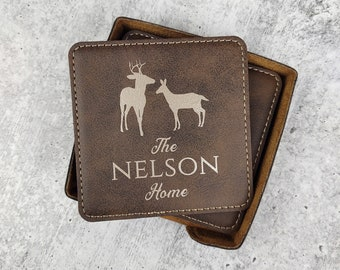 Personalized Drink Coasters with Family Name and Deer, Customized Rustic Home Decor, Leatherette Coaster Set, Engraved Wilderness Coasters