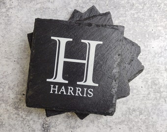 Monogramed Family Name Coasters Set of 4, Personalized Slate Coasters for Home, Rustic Decor, Custom Printed Coasters, Stone Bar Coasters