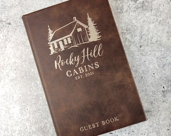 Personalized Guest Book for Cabin Rental Business, Engraved Notebook, Customized Leather Gift, Leatherette Journal, Rustic Cabin Decor