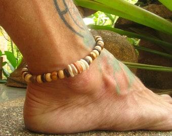030c53e32 Wood   Bone Beaded Stretchy Anklet   Mens Ankle Bracelet