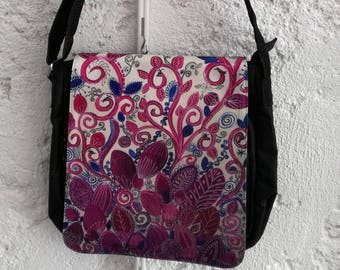 Shoulder bag - birds hidden - derived from my canvas