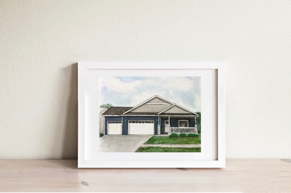 "Watercolor 8""x10"" Custom Home Portrait"