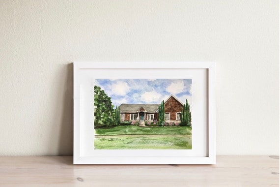 "Watercolor 11""x14"" Custom Home Portrait"