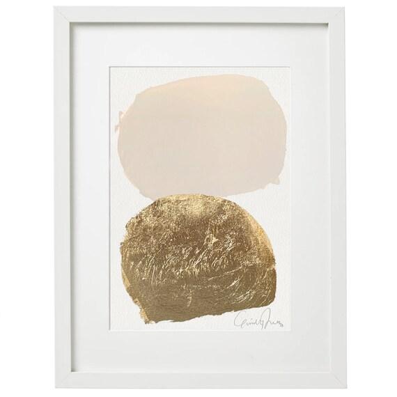 BEIGE SHAPES - original acrylic painting w/ gold leaf