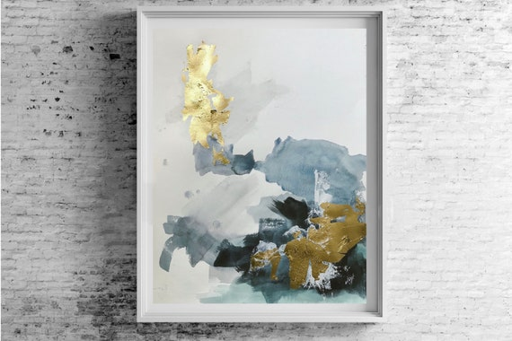 CROWN series -  original acrylic & watercolor painting w/ gold leaf