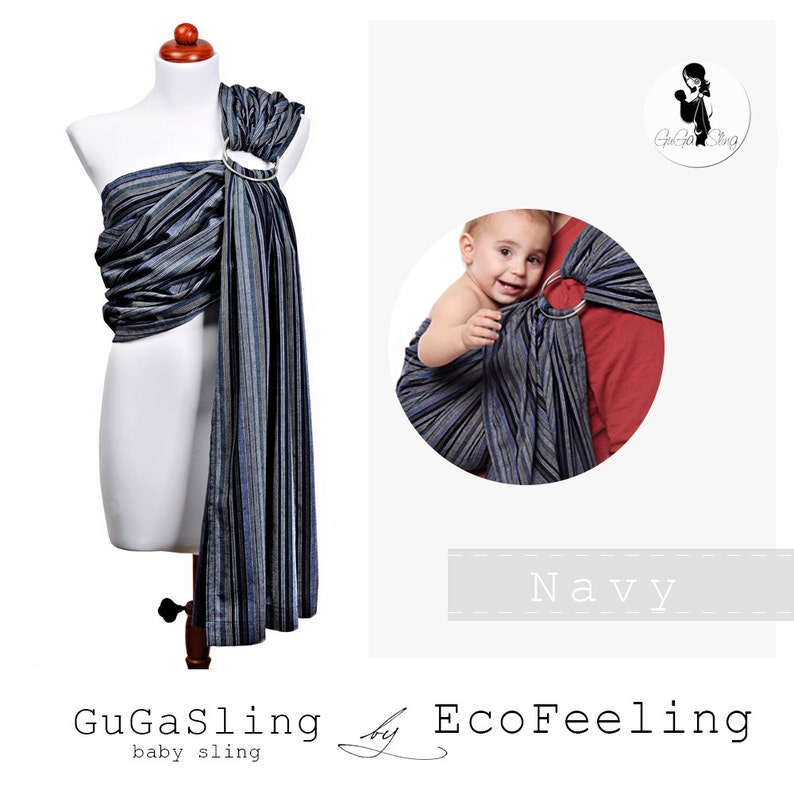 94f1a38bd86 GuGaSling Navy Baby sling ring Baby wrap Baby