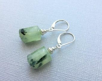 Prehnite earrings Green earrings Sterling silver earrings Czech glass earrings