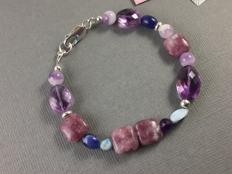 larimar lepidolite and sodalite sterling silver lobster clasp chunky adjustable 7 to 7.5 inches Multi gemstone bracelet with amethyst