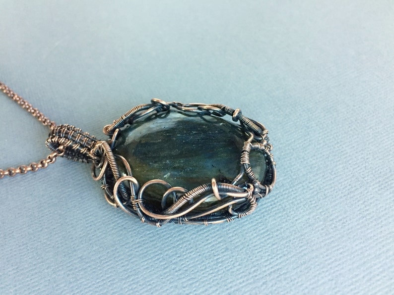 antiqued copper wire wrapped labradorite necklace with adjustable chain wire work statement jewelry blue flash Large labradorite pendant