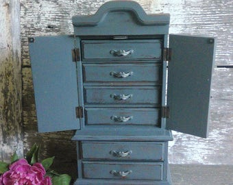Large Gray Jewelry Box Shabby Rustic Vintage Chic Wood Jewelry Armoire With French Doors Tall Jewelry Cabinet Gift For Woman Girl Her & Large jewelry box   Etsy