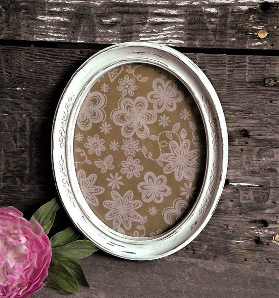 White Oval Frame With Glass 8 X 10 Picture Frame Ornate Etsy