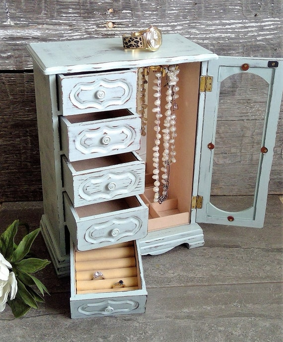 Upcycled Painted Wood Jewelry Box Jewelry Armoire With Mirror White Beige Shabby Rustic Jewelry Cabinet Gift For Her Woman Girl Bride Jewelry Storage Home Living