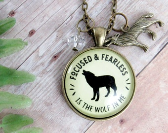 Wolf Necklace Focused Fearless Is Wolf In Me Quote Friendship Gift Lone Howling Spirit Animal Native Tribal Themed Jewelry Pendant For Women
