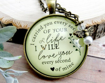 I Carried You Every Second of Your Life Miscarriage Necklace Baby Loss Angel Charm Remembrance Memorial Keepsake Gift For Her in Memory Of
