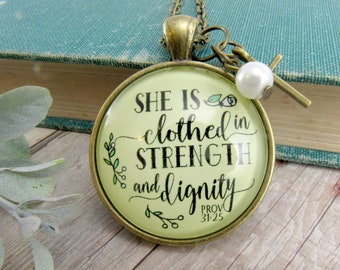 Christian Necklace She Is Clothed In Strength Dignity Women's Bible Verse Inspirational Pendant Cross Charm Faith Jewelry Womens Proverbs 31