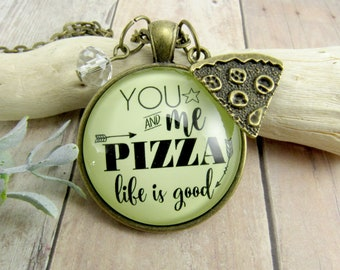 Pizza Charm Necklace | Keychain You Me Pizza Life Is Good Friendship Couples Relationship Themed Girlfriend Boyfriend Pendant Jewelry Gift