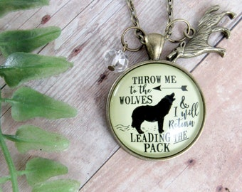 Wolf Necklace Throw Me To The Wolves Leading Pack Native Tribal Strong Women's Survivor Determination Pendant Spirit Animal Jewelry Charm
