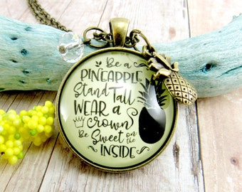 Be a Pineapple Necklace Stand Tall Wear a Crown Be Sweet Trendy Women's Summer Fashion Pendant Pineapple Charm Inspirational Jewelry For Her