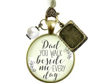Bridal Bouquet Photo Charm Dad Beside Me Wedding Father Memorial Picture Frame Jewel