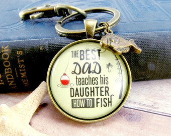 The Best Dad Teaches His Daughter/Son/Children How to Fish Fathers Day Fishing Keychain Dad Gift From Daughter Fisherman Gifts Outdoorsman