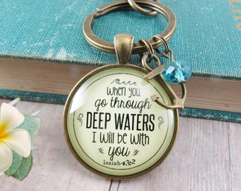 Gutsy Goodness Anchor Keychain Deep Waters Quote Jewelry Inspirational For Women with Gift