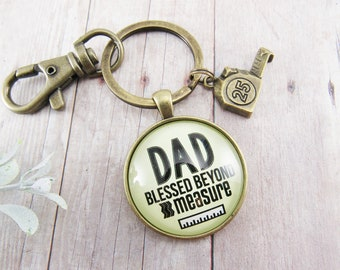 Dad Keychain Father Key Chain Dad Birthday Gift Blessed Beyond Measure Charm New Dad Kecyhain, First Father's Day Gift Dad Gifts