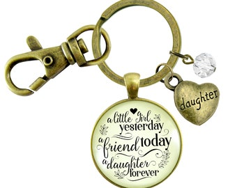 Gutsy Goodness Dad Daughter Keychain Little Girl Yesterday Friend Today From Father Sentimental Heartfelt Keepsake Pendant Jewelry Gift