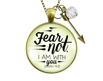 Gutsy Goodness Fear Not I Am With You Necklace Boho Bravery Jewelry Arrow Charm Women of Faith Godly Gift For Her Mother Daughter Grandma
