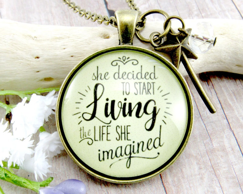 Okay Quote Pendant Necklace Cabochon Glass Vintage Bronze Chain Necklace Jewelry Handmade Family Decor Okay