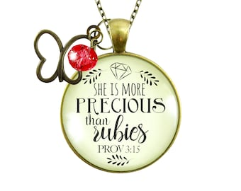 Gutsy Goodness She More Precious Rubies Necklace Fashion Faith Jewelry For Cherished Woman Faith Godly Gift For Her Mother Daughter Grandma