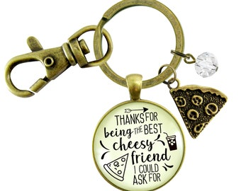 Gutsy Goodness Pizza BFF Keychain Thanks For Being Best Cheesy Pizza Theme Womens Fun Jewelry Slice Foodie Lover Gift Her Girlfriend Bestie