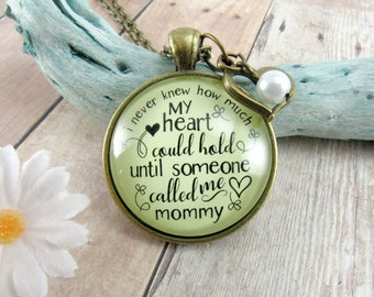 Mom Heart Necklace I Never Knew How Much My Heart Could Hold New Mommy Gift Bronze Pendant Charm Vintage Style Motherhood Jewelry