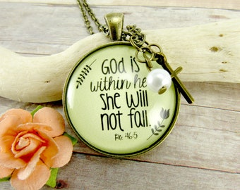 Christian Womens Necklace Keychain God is Within Her She Will Not Fall Psalm Scripture Jewelry Mother Daughter Jewelry Cross Charm Gift Card