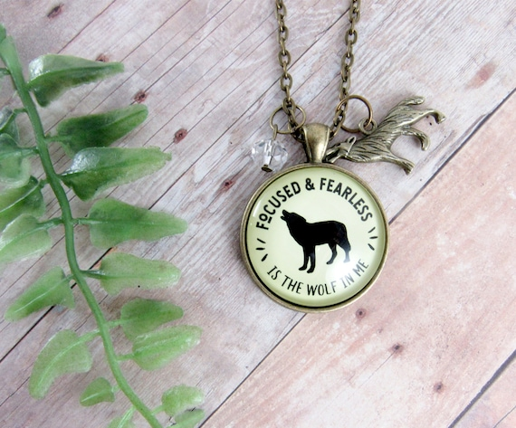 Wolf Necklace Focused Fearless Is Wolf In Me Quote Friendship Etsy