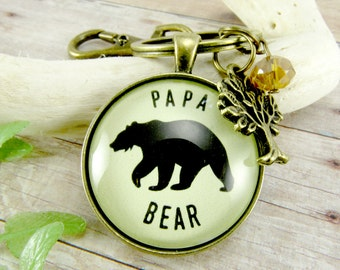 Papa Bear Keychain Mens Rustic Vintage Bronze Outdoorsman Key Ring For New Dad Grandpa Gift Tree Charm Father's Day Meaningful Keepsake Card