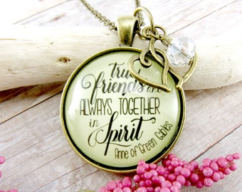 Best Friend Long Distance True Friends Quote Anne of Green Gables Book Glass Pendant, Gift for Best Friend Going Away