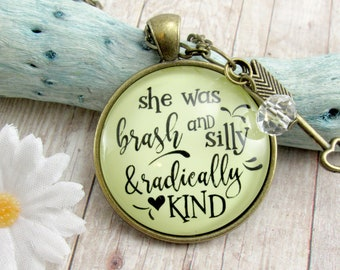 She Was Brash And Silly And Radically Kind Inspirational Necklace Vintage Boho Inspired Jewelry Arrow Charm Womens Friend Gift Keepsake Card