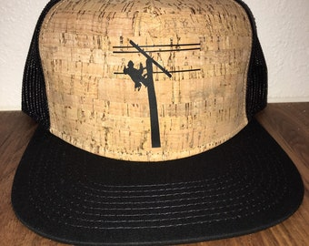 7d374640f95 Lineman - Cork hat- gift - cork hat - gift for him - gift for her-trucker  hat - gift- snap back- unique
