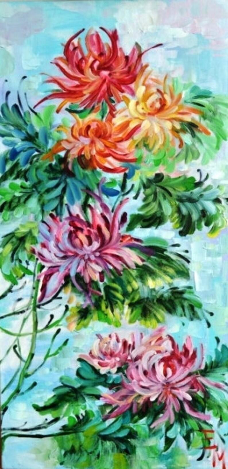 La pittura di fiori olio su tela arte arte pittura fiori | Etsy