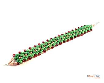 St Petersburg Stitch Bracelet - Beaded Bracelet Patterns - Christmas Bracelet Pattern - Beading Tutorials And Patterns - DIY Beaded Jewelry