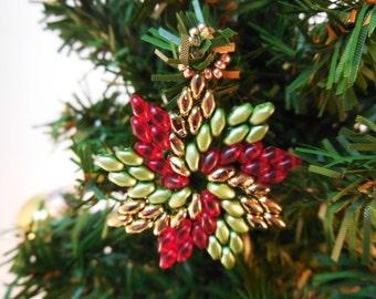Christmas Beading Patterns - Beaded Christmas Ornament Patterns - DIY Christmas Ornaments - DIY Christmas Gifts - Pinwheel Ornament